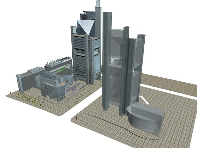 Urban complex architecture 3d rendering