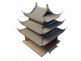 Chinese pagoda 3d model preview