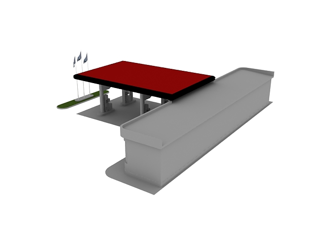 Small filling station 3d rendering