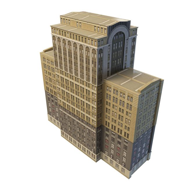 Old office building architecture 3d rendering