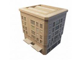 Old apartment building and shop 3d preview