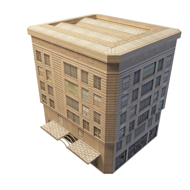 Old apartment building and shop 3d rendering