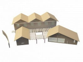 Holiday cottages and houses 3d model preview