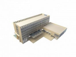 Hotel building with swimming pool 3d model preview