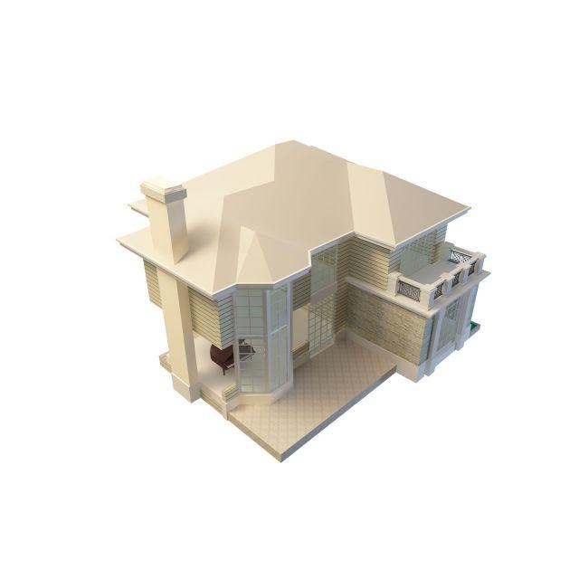 Two-storey villa 3d rendering