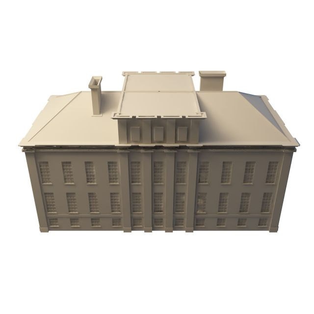 Old post office building 3d rendering