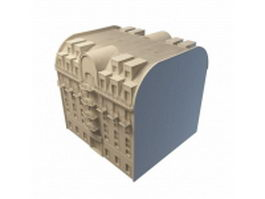 Modern apartment building 3d model preview