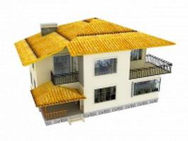 Unique modern villa design 3d model preview
