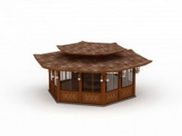 Traditional wooden pavilion 3d preview