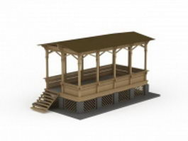 Traditional wood pavilion 3d model preview