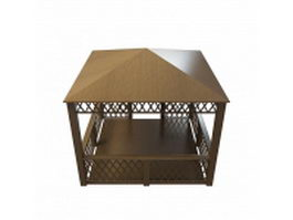 Wood garden shed 3d preview