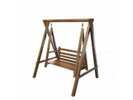 Wooden garden swing seat 3d preview