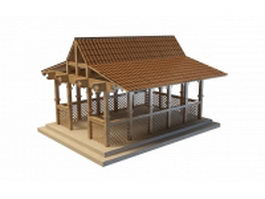 Garden shed building 3d preview