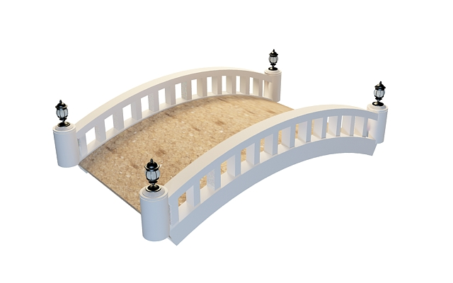 White garden bridge 3d rendering