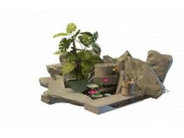 Chinese rock garden 3d model preview