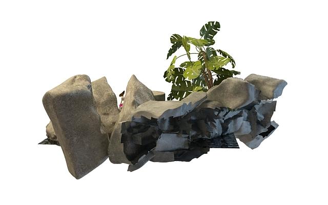 Chinese rock garden 3d rendering
