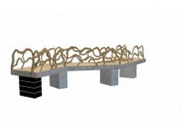 Japanese garden bridge 3d model preview