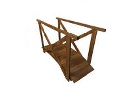 Wooden garden bridge 3d model preview