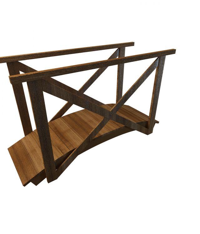 Wooden garden bridge 3d rendering