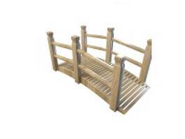 Wood garden bridge 3d model preview