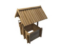 Wooden garden wishing well 3d preview