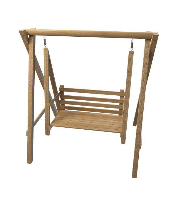 Wooden garden swing seat 3d rendering