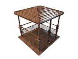 Vintage wooden gazebo 3d model preview