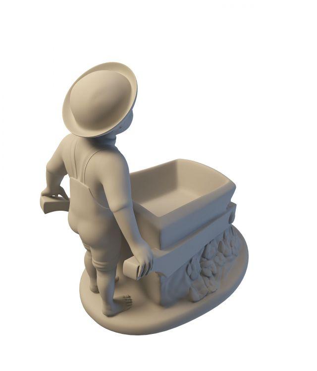 Farmer boy garden statue 3d rendering