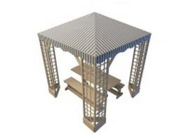 Picnic table shelter 3d preview