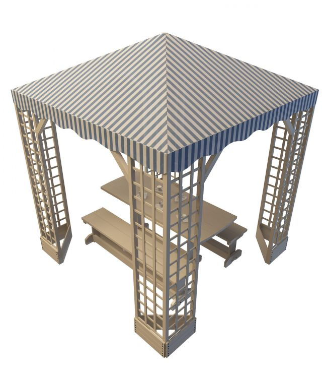 Picnic table shelter 3d rendering