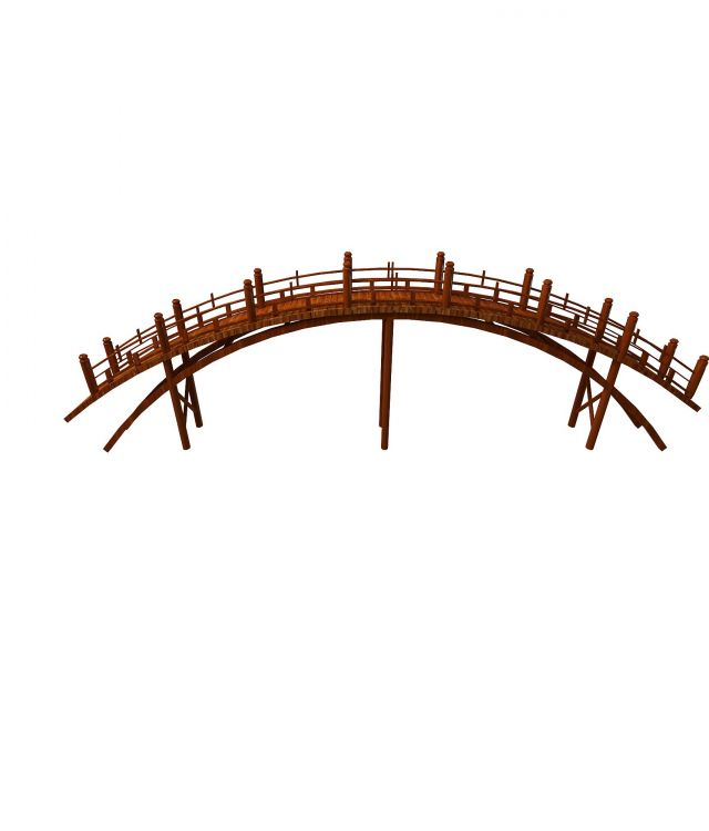 Handcrafted garden arch bridge 3d rendering