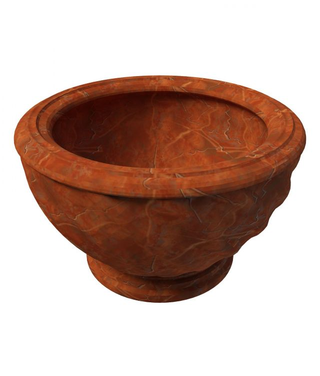 Vintage flower pot 3d rendering