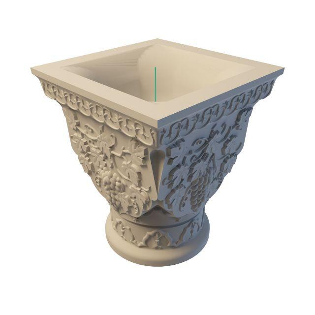 Carved stone flower pot 3d rendering