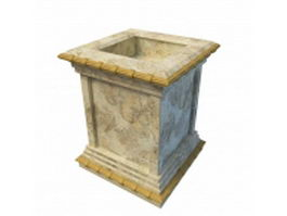 Antique tall square planter 3d preview