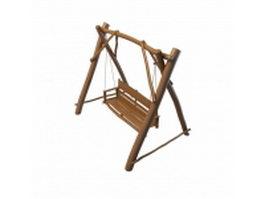 Garden wooden swing seat 3d preview