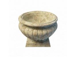 Antique stone planter 3d preview