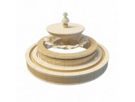 Contemporary round fountain 3d model preview
