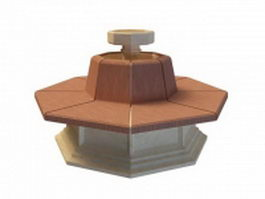 Octagon fountain 3d model preview