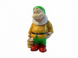 Garden gnome with bucket 3d preview