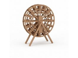 Wooden water wheel 3d preview