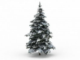 Winter snow spruce tree 3d model preview