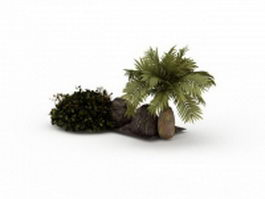 Bottle palm and stone 3d preview