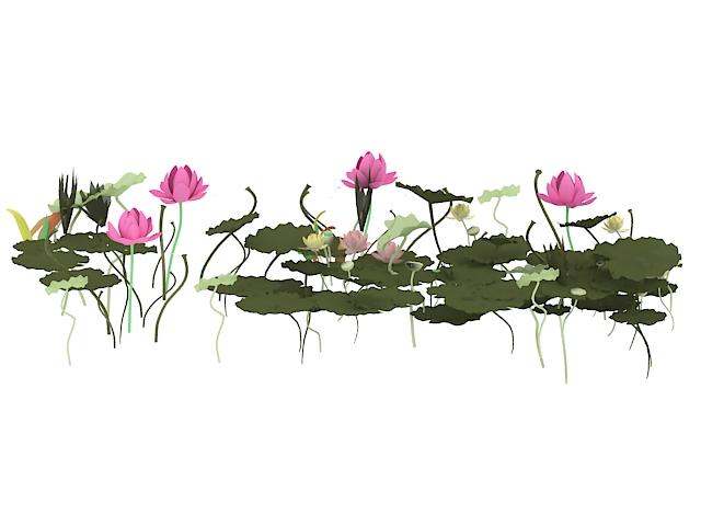 Lotus flowers and leaves 3d rendering