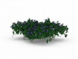 Purple flowering shrubs 3d model preview