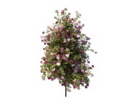 Outdoor metal flower stand with plants 3d preview