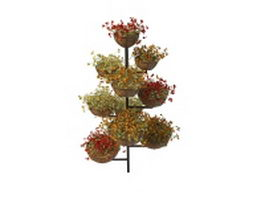 Multi-level plant stand with pot flower 3d preview