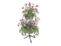 2 Tier planter stand and potted flower 3d preview