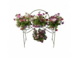 Metal planter stand with flowers 3d preview