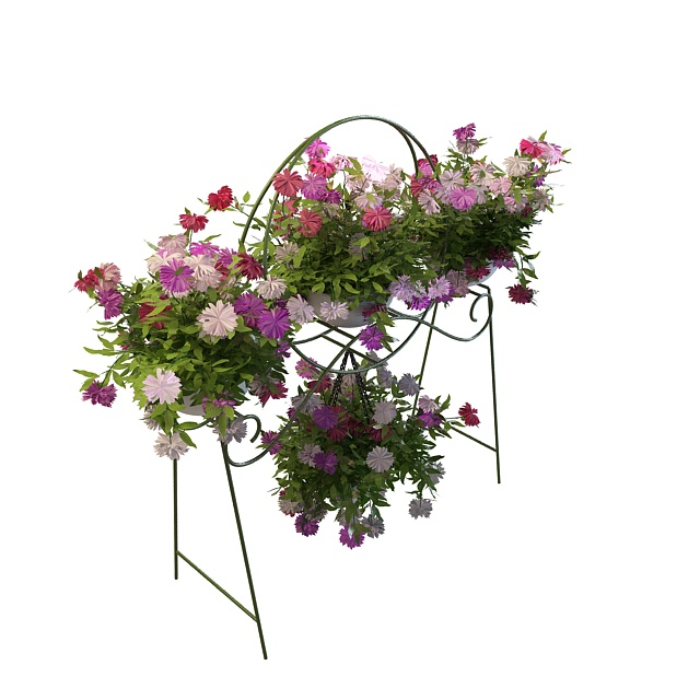 Metal planter stand with flowers 3d rendering