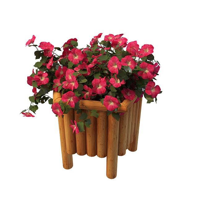 Garden planter flowers 3d rendering
